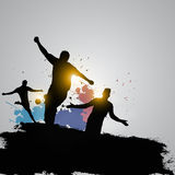 Grunge soccer players celebrating. Soccer Players Team Group Celebrating The Victory Royalty Free Stock Images
