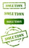 Grunge Solution Stamp Set. Green Grunge Solution Stamp Set on white background Royalty Free Stock Photo