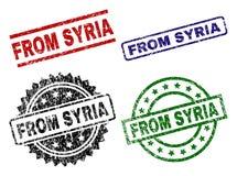 Grunge som textureras FRÅN SYRIEN skyddsremsastämplar vektor illustrationer