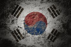 Grunge South Korea flag on stone background. Grunge South Korea flag on grunge stone background royalty free stock image