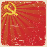 Grunge soviet background with hammer and sickle,  Royalty Free Stock Image