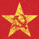 Grunge soviet star with hammer and sickle,  Stock Photos