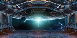 Grunge Spaceship interior with view on planet Earth 3D rendering. Grunge Spaceship blue and orange interior with view on planet Earth 3D rendering elements of Royalty Free Stock Photography