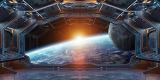 Grunge Spaceship interior with view on planet Earth 3D rendering. Grunge Spaceship blue and orange interior with view on planet Earth 3D rendering elements of Stock Photo