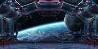 Grunge Spaceship interior with view on planet Earth 3D rendering. Grunge Spaceship blue and pink interior with view on planet Earth 3D rendering elements of this Royalty Free Stock Image