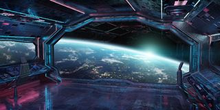 Grunge Spaceship interior with view on planet Earth 3D rendering. Grunge Spaceship blue and pink interior with view on planet Earth 3D rendering elements of this Stock Images