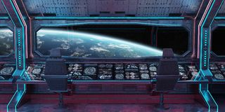 Grunge Spaceship interior with view on planet Earth 3D rendering. Grunge Spaceship blue and pink interior with view on planet Earth 3D rendering elements of this Royalty Free Stock Photography