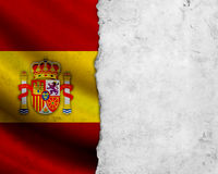 Grunge Spain flag. With paper frame stock images