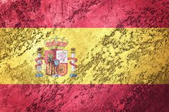 Grunge Spain flag. Spain flag with grunge texture. Royalty Free Stock Photo