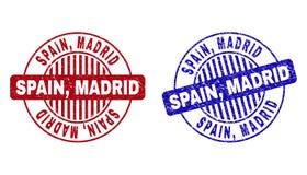 Grunge SPANIEN, MADRID texturerade runda stämplar royaltyfri illustrationer