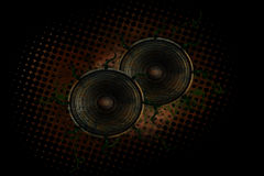 Grunge Speakers. Grungy background with speakers and vines Royalty Free Stock Photos