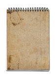 Grunge spiral close notebook. Brown paper cover, isolated on white with clipping path Stock Photo