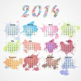Grunge splash calendar for 2014. This is file of EPS10 format Royalty Free Stock Photos
