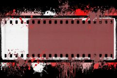 Grunge splashed film strip frame on black background. Graphic element. Grunge splashed film strip frame on black background. Design element Stock Image