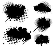 Grunge splatters and dots. Set Royalty Free Stock Images