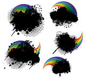 Grunge splatters and rainbows. Set Royalty Free Stock Image