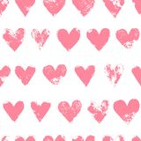 Grunge sponge print rough pink hearts on white seamless pattern, vector. Background stock illustration