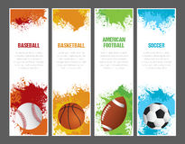 Grunge Sports Banners. A set of sports themed banners for football, soccer, baseball and basketball Stock Photo