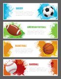 Grunge Sports Banners. A set of sports themed banners for football, soccer, baseball and basketball Royalty Free Stock Photo