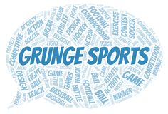 Grunge Sports word cloud. Wordcloud made with text only stock illustration
