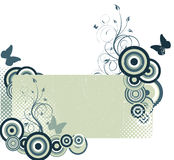 Grunge spring background. Grunge grey background with butterflies Stock Image