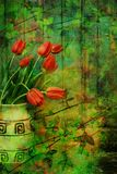 Grunge, Spring background with red tulips Stock Photo