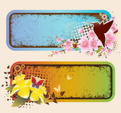 Grunge Spring Banners Stock Photos