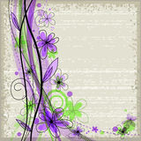 Grunge spring floral background with green and violet flowers Stock Photo
