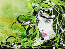 Grunge spring girl illustration Royalty Free Stock Photo