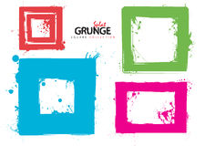 Grunge square collection ink. Grunge square ink splat collection with bright colours stock illustration
