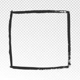Grunge square frame. Black brush strokes cadre, watercolor paint brushes label design or hand drawn photo frames vector. Grunge square frame. Black brush strokes stock illustration