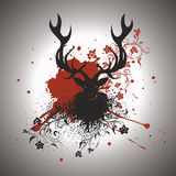 Grunge Stag with Floral Stock Photos