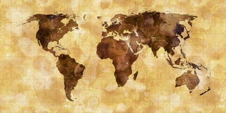 Grunge stained map of the world Stock Photo