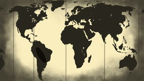 Grunge stained map of the world stock video