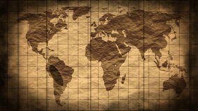 Grunge stained map of the world stock footage