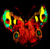 Grunge stained rainbow fluorescent futuristic butterfly Stock Image
