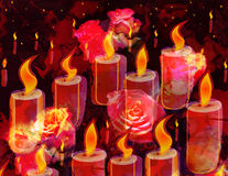 Grunge stained sketching card with burning candles and roses. On gark background stock illustration