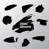 Grunge Stains Set. Modern Strokes. Vector Silhouette. Isolated Royalty Free Stock Photos