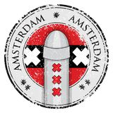 Grunge stamp with bollard symol of Amsterdam and flag Stock Images