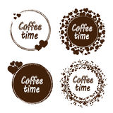 Grunge stamp with coffee time text inside. Set of  coffee time stamp with a spots Royalty Free Stock Image