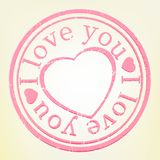 Grunge Stamp: I Lov� you. Pink color. EPS 8. File included Royalty Free Stock Photo