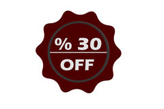 Grunge stamp 35 percent off with red text over white background Royalty Free Stock Photo
