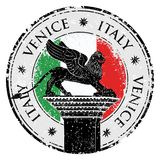 Grunge stamp of Venice, flag of Italy inside, vector illustration Stock Photo