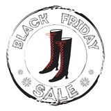 Grunge stamp with woman boots and the text Black Friday Sale. Royalty Free Stock Photography
