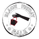 Grunge stamp with woman glove, bag and the text Black Friday Sale. Stock Photo