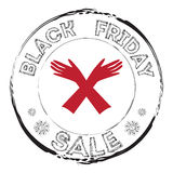 Grunge stamp with woman glove and the text Black Friday Sale. Stock Photos
