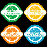 Grunge stamps with collections for each seasons Royalty Free Stock Photography