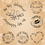 Grunge vector stamps for valentine day - elements Royalty Free Stock Image