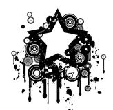 Grunge star. Grunge ink design with star and scratches stock illustration