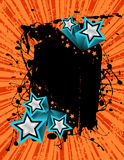 Grunge star banner. Vector illustration of a grunge banner ready for your text with 3D silver stars Stock Images